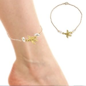 Jewelry - Boho Starfish & Pearl Silver Anklet Bracelet NWT